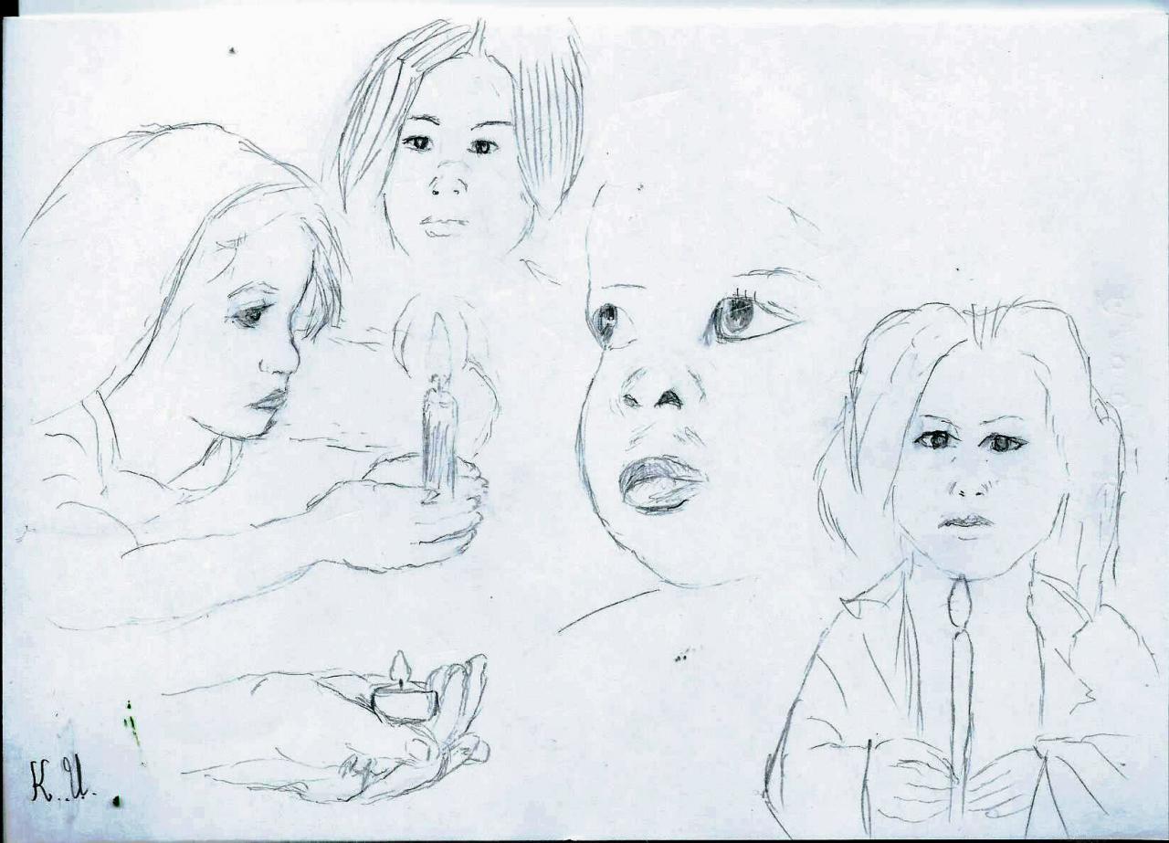 Enfants à la bougie