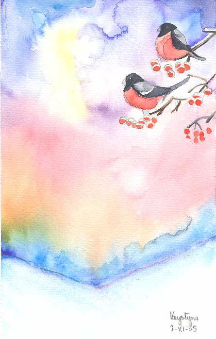 Rouge-gorges, par Krystyna Umiastowska