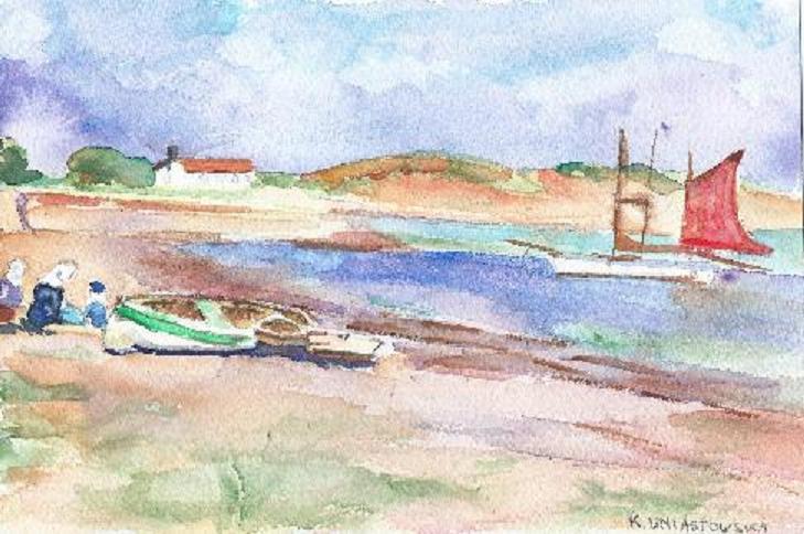 Tricoteuses près des barques, par Krystyna Umiastowska